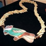 vintage mother of pearl parrot necklace