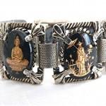 vintage reverse painted oriental bracelet set