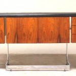 vintage rosewood leather office credenza
