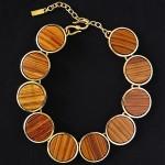 vintage ysl rive gaurche wood disk necklace