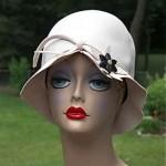 vintage 1960s frank olive hat with bakelite flower