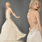 vintage grecian plunging pleated backless maxi dress