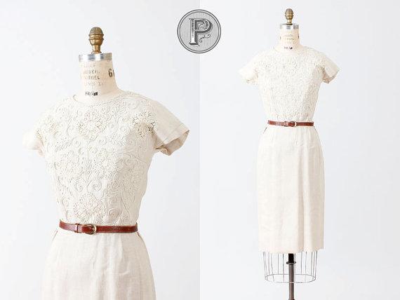 vintage 1960s irish linen embroidered dress