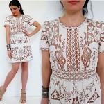 vintage 1970s lace cut-out mini dress