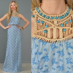 vintage 1970s macrame beaded maxi dress