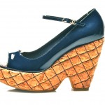 vintage 1990s chanel quilted cork platworm patent leather wedges