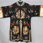 vintage early 20th century hand embroidered silk satin robe