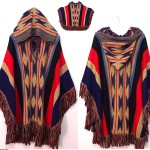 vintage hooded navajo poncho sweater cape