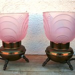 vintage pair of art deco boudoir lamps