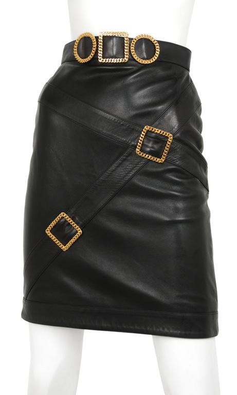 vintage 1990s chanel leather buckle skirt