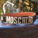 preowned moschino logo belt