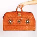 vintage 1970s hand tooled painted handbag tote