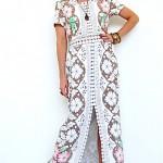 vintage 1970s lace cut out crochet maxi dress