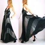 vintage 1970s metallic chevron pleated maxi dress