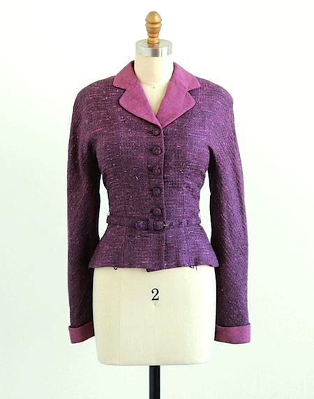 vintage 1940s belted blazer jacket