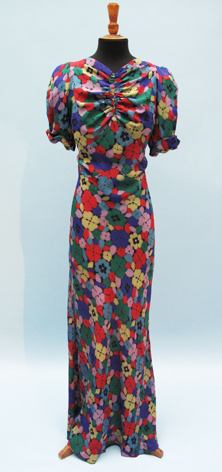 vintage 1930s floral silk dress