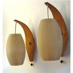 vintage pair mid-century wall lamps scones