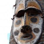 vintage papua new guinea tribal tri-mask war shield z