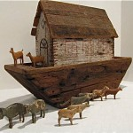 vintage primitive noah's ark and antique german animals z