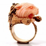 antique carved coral diamond 18k gold panther ring z