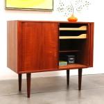 vintage 1960s danish modern kai kristiansen teak tambour credenza cabinet