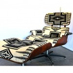 vintage mid-century lounge chair and ottoman with pendleton upholstery z