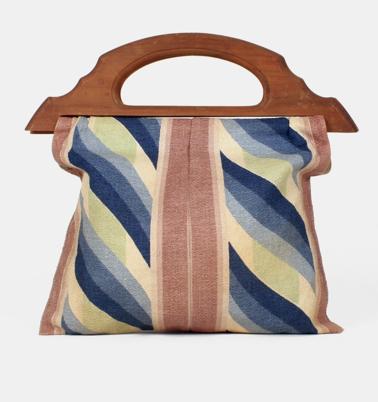 vintage 1940s striped tote