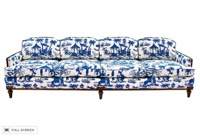 vintage 1970s reupholstered chinoiserie toile sofa