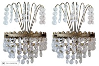 vintage early 1900s swedish crystal brass sconces