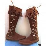 vintage minnetonka suede lace-up fringe boots