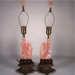 vintage 1930s pair of Chinese carved rose quartz and bronze table lamps