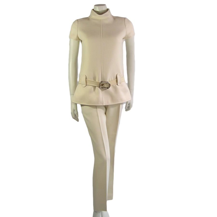 vintage 1960s courreges cream cuture trouser suit