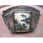 vintage chinese silver filigree scrimshaw bracelet