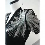 vintage 1940s crepe dinner dress with sequin shoulders z