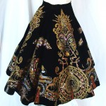 vintage 1950s painted velvet mexican circle skirt