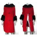 vintage 1960s fox fur trim wool coat