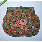 vintage chinese petit point handbag with jade