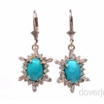 vintage diamond and turquoise earrings