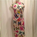 vintage goldworm knit wool butterfly print dress