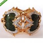vintage marcel boucher lizard enamel rhinestone bracelet z