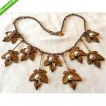 vintage miriam haskell dangling leaf necklace z