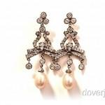 vintage platinum pearl diamond earrings