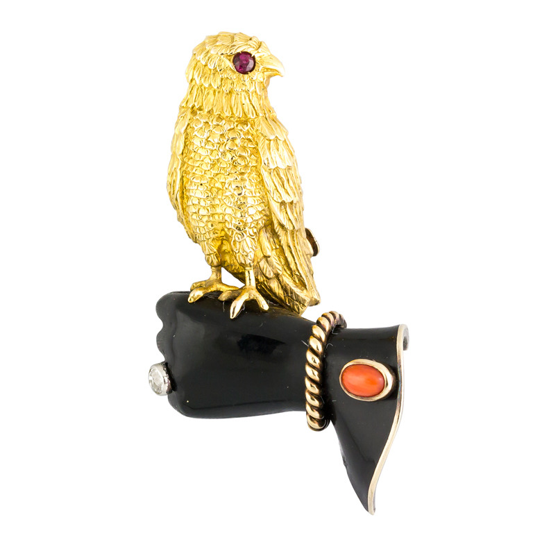 vintage 1930s cartier jeweled falcon brooch