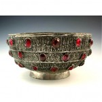 antique 19th century silver over copper glass jeweled bowl