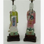 pair of antique chinese republic period porcelain figural lamps
