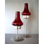 pair of vintage stainless glass candleholders