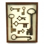 shadowbox with antique keys