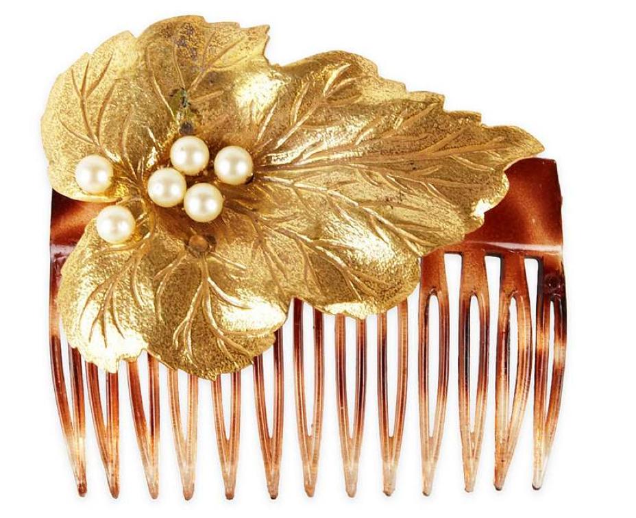 vintage miriam haskell leaf hair comb