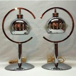 vintage pair of 1970s chrome lucite lamps