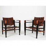 vintage pair of leather safari chairs
